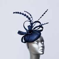 Navy blue feather and pearl ladies' pillbox fascinator 16436/SD266